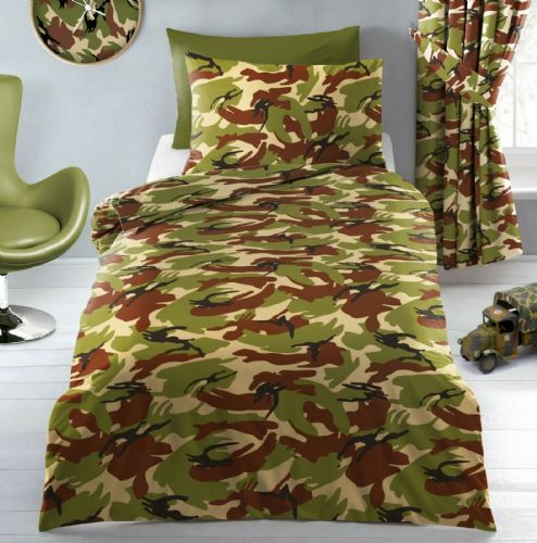 Army Camouflage Green Sand Military Bedding Duvet Cover or Curtains